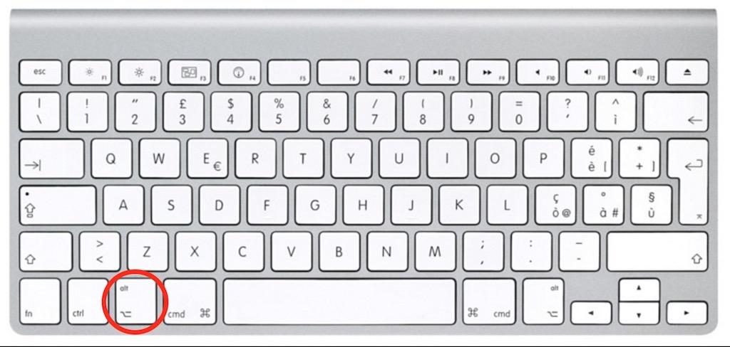 Tastiera Mac - Pulsante alt